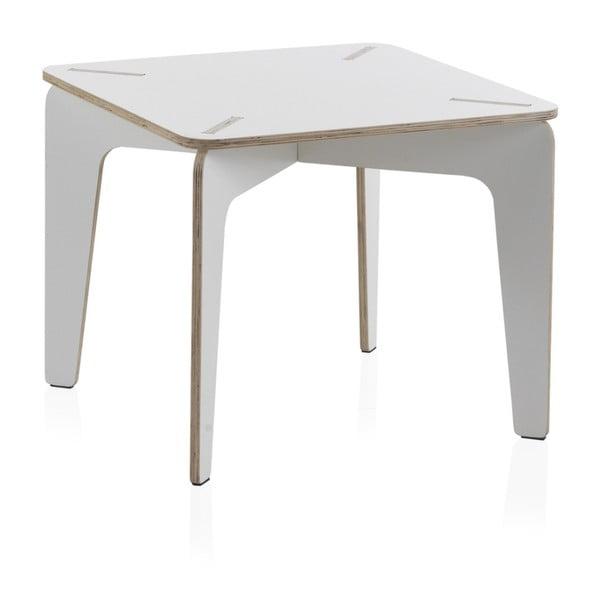 Biały stół dziecięcy ze sklejki Geese Piper, 60x60 cm
