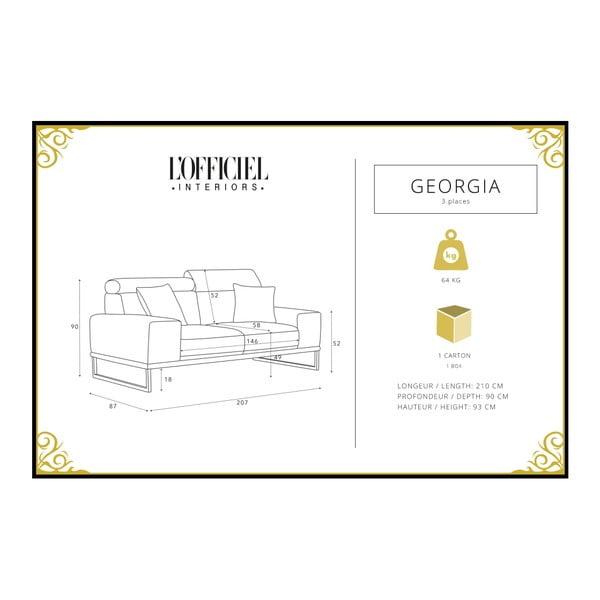 Canapea cu 3 locuri L'Officiel Georgia, negru