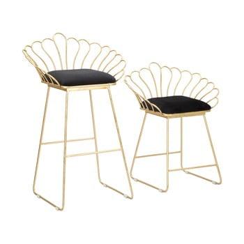 Set 2 scaune bar Mauro Ferretti Flower, auriu-negru de la Mauro Ferretti