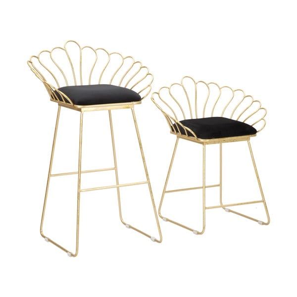 Set 2 scaune bar Mauro Ferretti Flower, auriu-negru