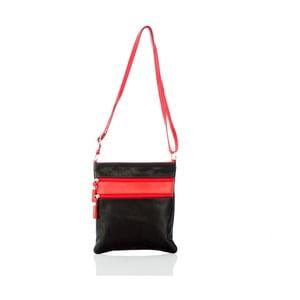Černo-červená kožená kabelka Glorious Black Tama