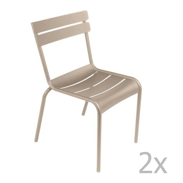 Sada 2 světle béžových židlí Fermob Luxembourg