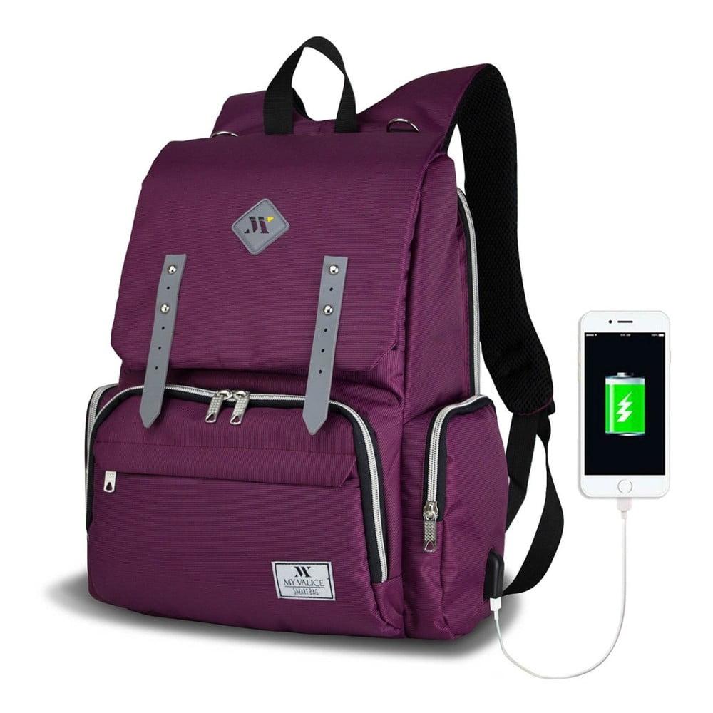 Fialový batoh pro maminky s USB portem My Valice MOTHER STAR Baby Care Backpack