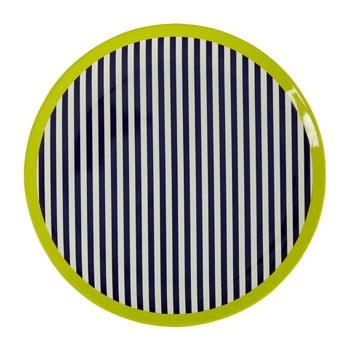 Farfurie Premier Housewares Mimo Stripes, ⌀20cm. alb-negru-verde imagine
