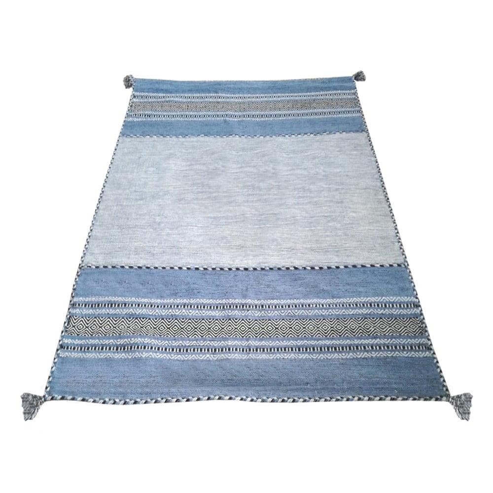 Modro-šedý bavlněný koberec Webtappeti Antique Kilim, 160 x 230 cm