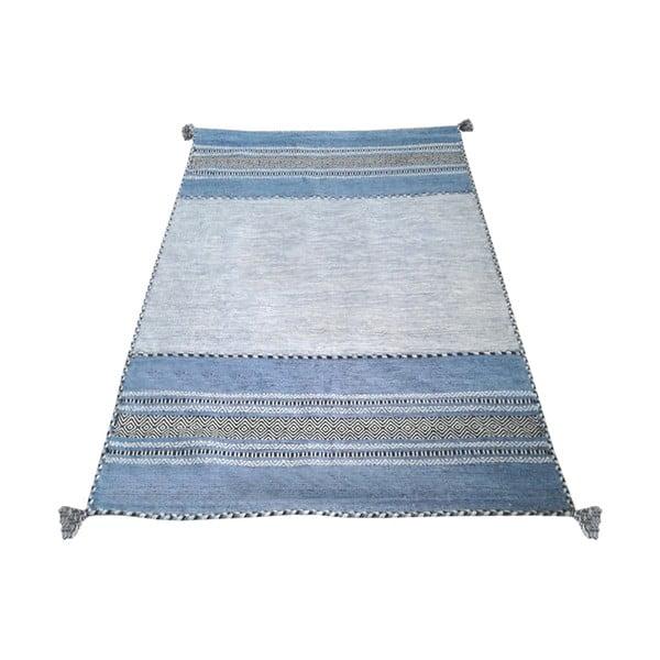 Modro-šedý bavlněný koberec Webtappeti Antique Kilim, 120 x 180 cm
