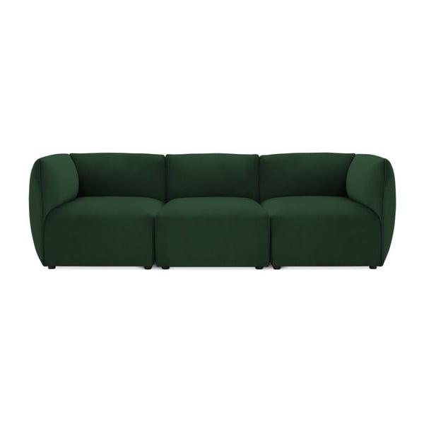 Emeraldově zelená třímístná modulová pohovka Vivonita Velvet Cube