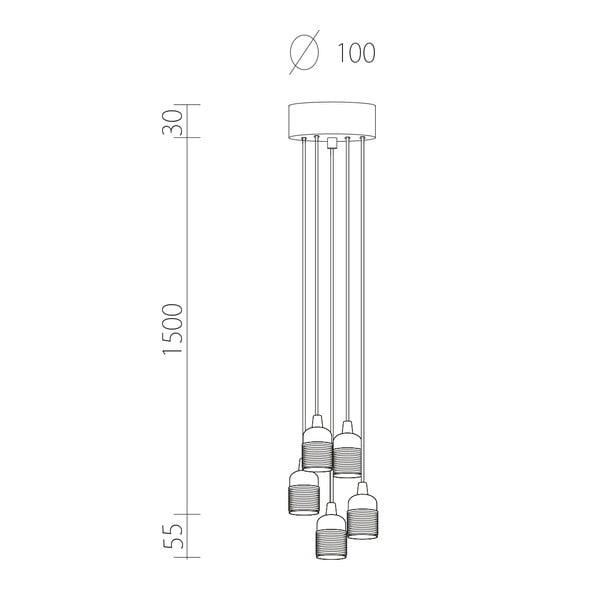 Závěsné svítidlo s 5 bílými kabely a bílou objímkou Bulb Attack Uno Group