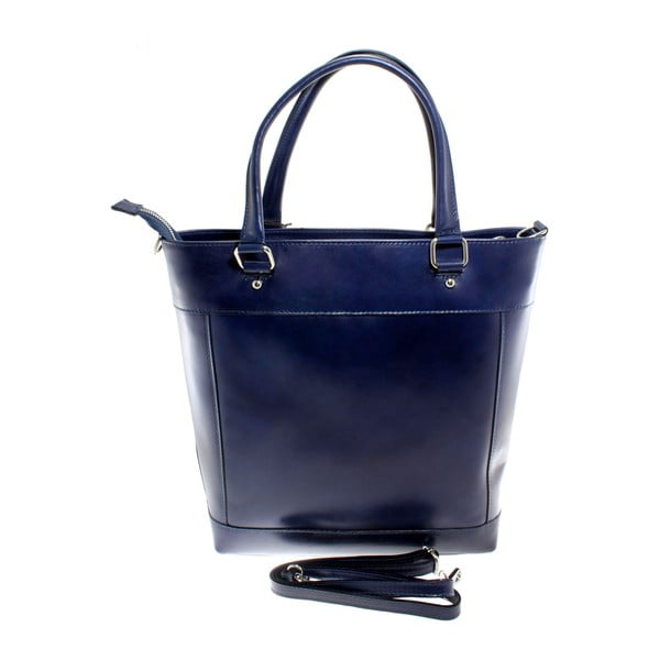 Modrá kožená kabelka Chicca Borse Crosty