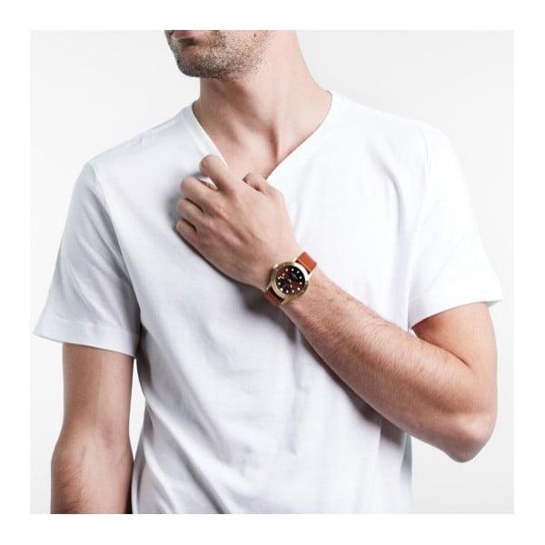 Unisex hodinky s hnědým koženým řemínkem Triwa Chestnut Hvalen Brown Sewn