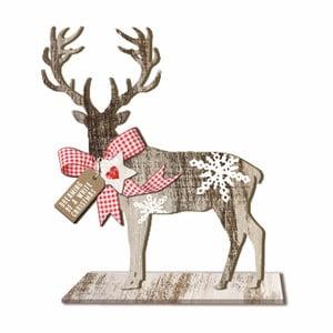 Dřevěná vánoční dekorace PPD Deer Small Country Xmas, výška 20 cm