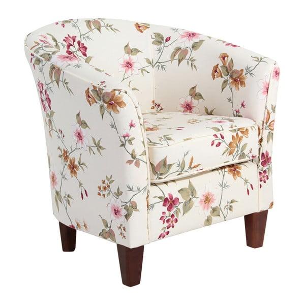 Biały fotel w kwiaty z ciemnobrązowymi nogami Max Winzer Livia