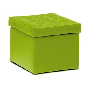 Taburet s úložným prostorem Silvia, zelený