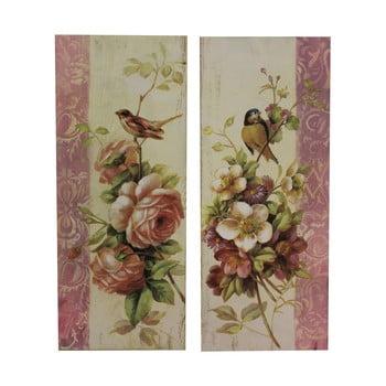 Set 2 tablouri Antic Line Roses and Birds, 64 x 26 cm