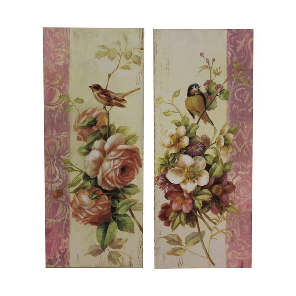 Set 2 tablouri Antic Line Roses and Birds, 64 x 26 cm