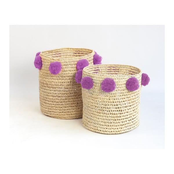 Sada 2 úložných košíků z palmových vláken s fialovými dekoracemi Madre Selva Milo Basket