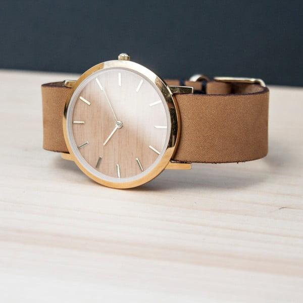 Dřevěné hodinky s hnědým řemínkem Analog Watch Co. Classic