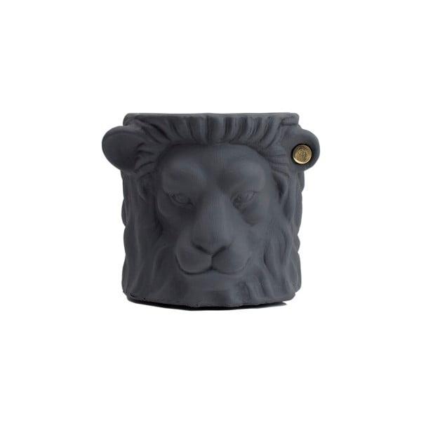 Šedý květináč Garden Glory Lion, výška 20 cm