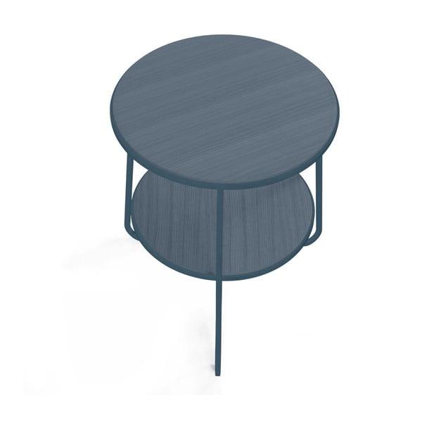 Modrošedý odkládací stolek HARTÔ Anatole, ⌀ 40cm