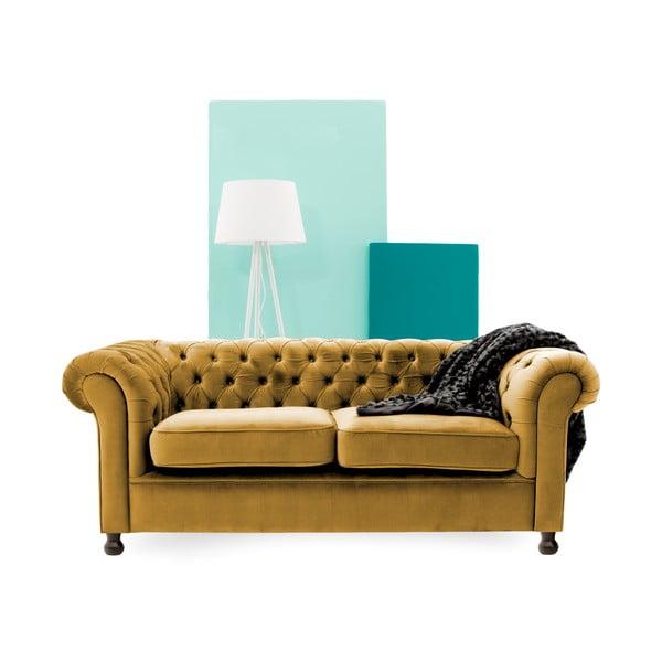 Canapea 3 locuri Vivonita Chesterfield, galben închis