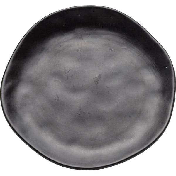 Čierny kameninový tanier Kare Design Organic Black, ⌀ 20 cm
