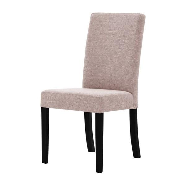Pudrově růžová židle s černými nohami z bukového dřeva Ted Lapidus Maison Tonka