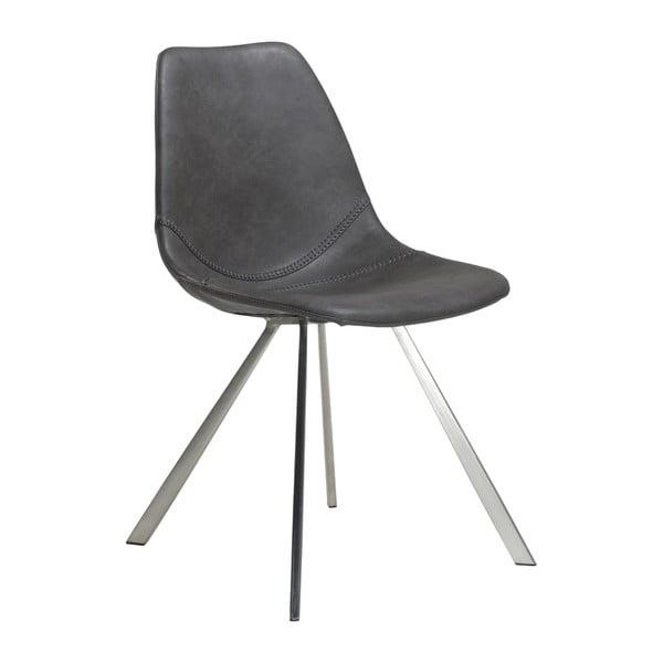 Šedá jídelní židle s ocelovým podnožím DAN–FORM Pitch