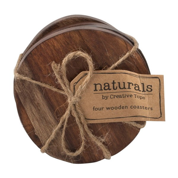 Sada 4 dřevěných podtácků Creative Tops Naturals