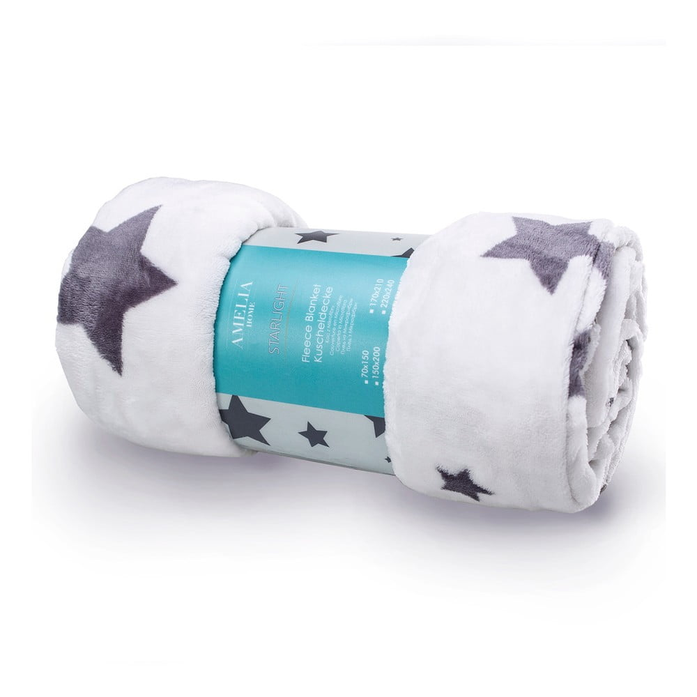 Bílo-šedá deka z mikroperkálu AmeliaHome Starlight, 70 x 150 cm