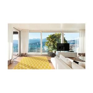 Žlutý vysoce odolný koberec vhodný do exteriéru Floorita Trellis, 133x190cm