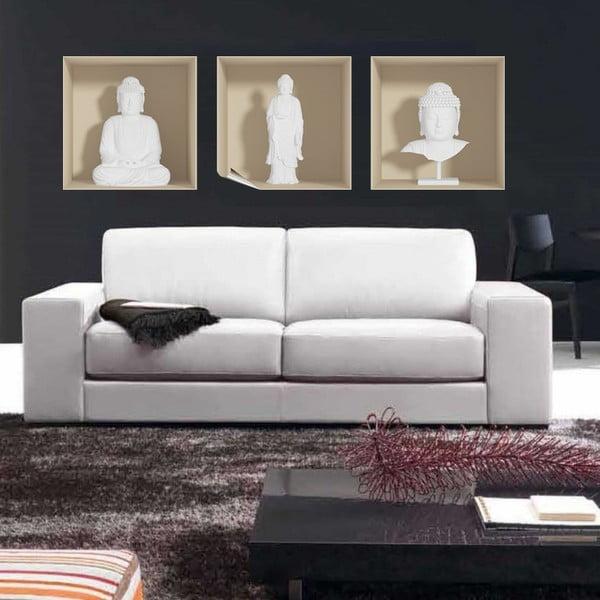 Zestaw 3 naklejek na ścianę 3D Ambiance White Buddha