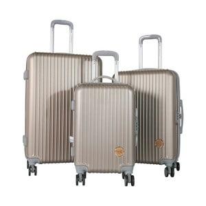 Sada 3 cestovních kufrů na kolečkách v barvě tmavé šampaň Travel World Emilia