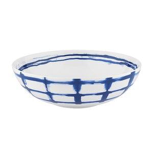 Farfurie adâncă din porțelan Santiago Pons Grid, ⌀ 19 cm, alb - albastru
