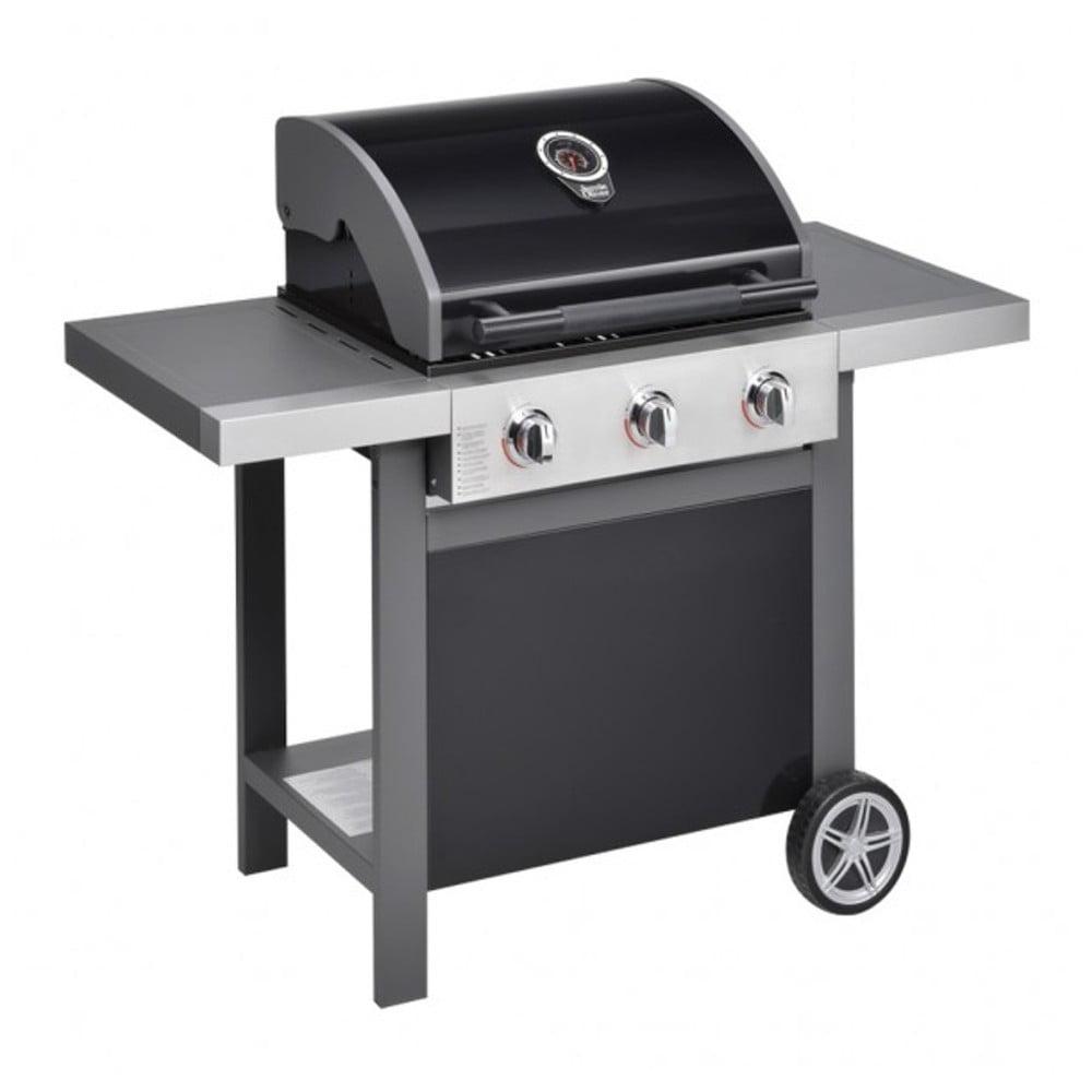 Černý plynový gril se 3 samostatně ovladatelnými hořáky a teploměrem Jamie Oliver BBQ