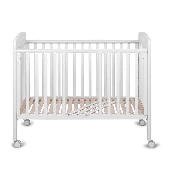 Pătuț cu roți, grilaj ajustabil și jucărie integrată YappyKids Play, 60 x 120 cm, alb
