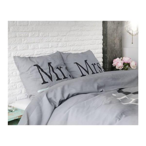 Modrošedé povlečení z mikroperkálu na jednolůžko Sleeptime Mr and Mrs Right,140x220cm