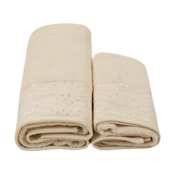 Set 2 béžových ručníků a unisex županu z čisté bavlny Relax, vel. M/L
