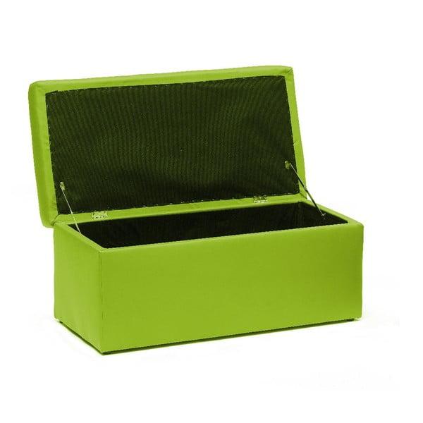 Taburet s úložným prostorem Silvia 90 cm, zelený