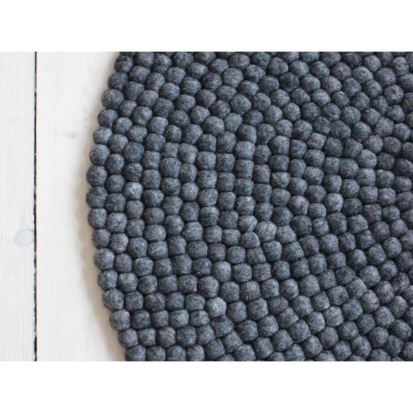 Antracitovosivý guľôčkový vlnený koberec Wooldot Ball rugs, ⌀ 90 cm