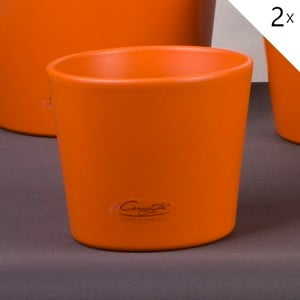 Sada 2 oranžových květináčů Matt, 13 cm