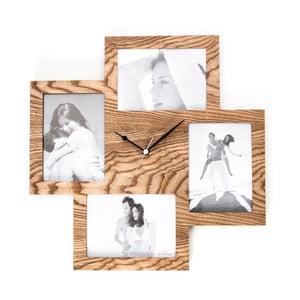 Dřevěné nástěnné hodiny s fotorámečkem Tomasucci Collage
