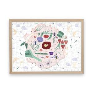 Puzzle z recyklovaných materiálů v bukovém rámu Pucle Jarná záhrada,200dílků
