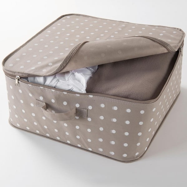 Beżowy duży organizer tekstylny z suwakiem Compactor Dots, 46x20,5cm