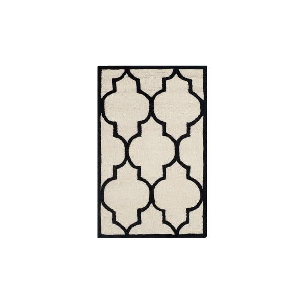 Vlněný koberec Safavieh Everly 121x182 cm, bílý/černý
