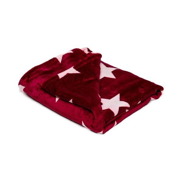 Pătură din micropluș My House Stars, 150 x 200 cm, roșu