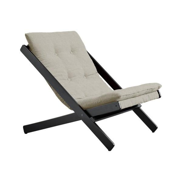 Czarny fotel rozkładany z drewna bukowego Karup Design Woogie Black, 60x115 cm