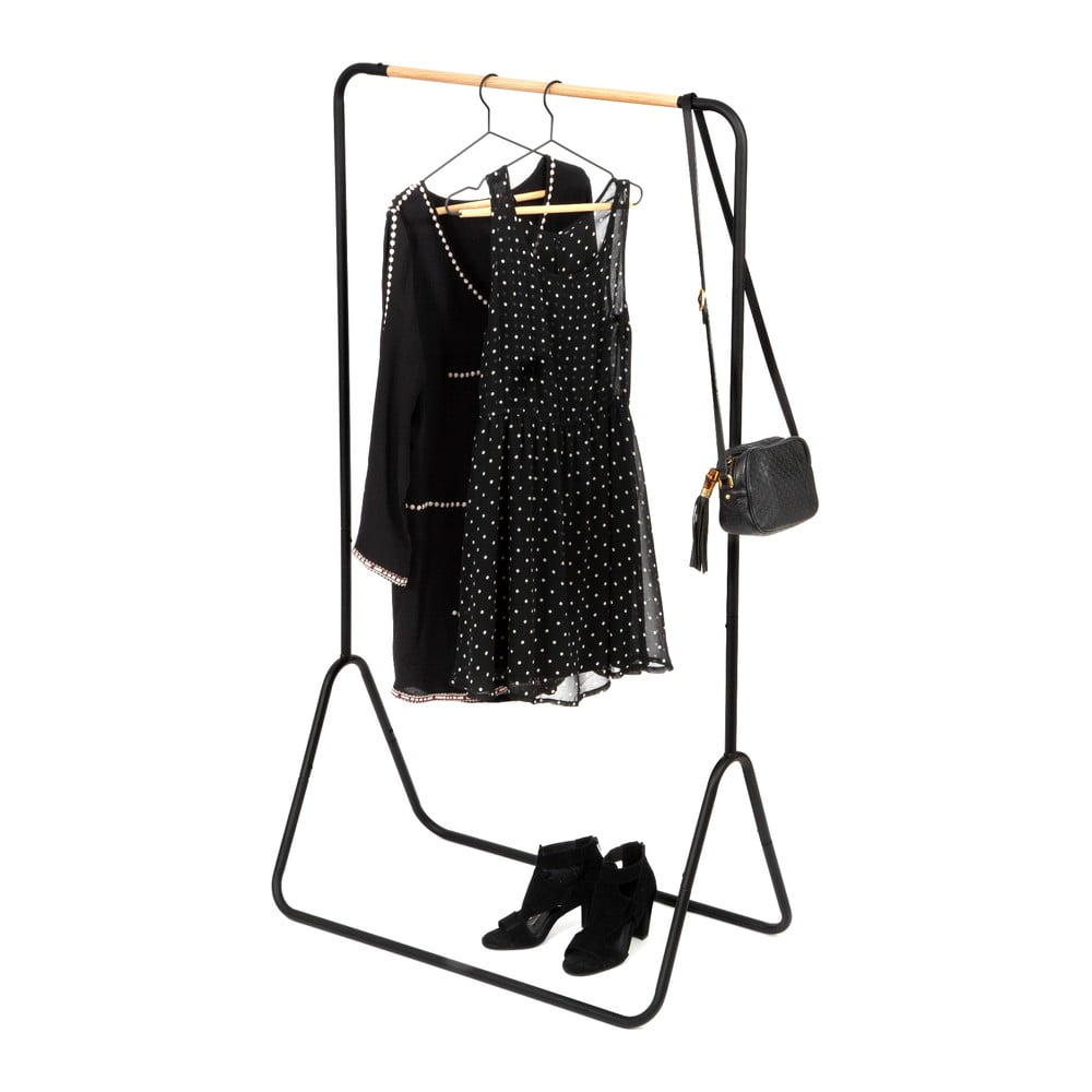 Černý stojan na oblečení Compactor Elias Clother Hanger, výška 145 cm