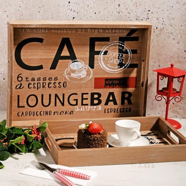 Sada 2 dřevěných táců Café Bar