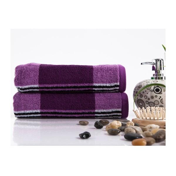 Sada 2 ručníků Stripe Damson, 45x90 cm