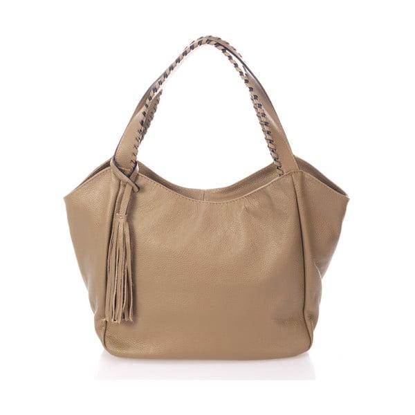 Béžová kožená kabelka Giulia Massari Lora